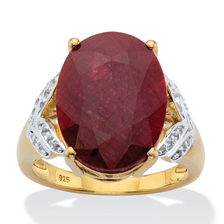 Oval-Cut Genuine Ruby and White Topaz Two-Tone Cocktail Ring 10.21 TCW 14k Gold over Silver at PalmBeach Jewelry