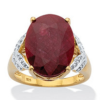 Oval-Cut Genuine Ruby and White Topaz Two-Tone Cocktail Ring 10.21 TCW 14k Gold over Silver
