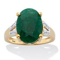 Oval-Cut Green Emerald and White Topaz Two-Tone Split-Shank Cocktail Ring 8.46 TCW 14k Gold over Silver