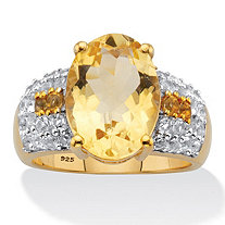 Oval-Cut Genuine Citrine and White Topaz Two-Tone Cocktail Ring 6.42 TCW 14k Gold Over Silver