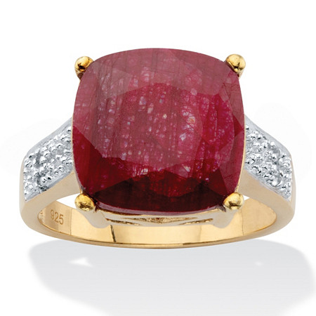 Cushion-Cut Genuine Red Ruby and White Topaz Two-Tone Cocktail Ring 3.37 TCW Gold-Plated Sterling Silver at PalmBeach Jewelry