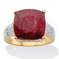Cushion-Cut Genuine Red Ruby and White Topaz Two-Tone Cocktail Ring 3.37 TCW 14k Gold over Silver