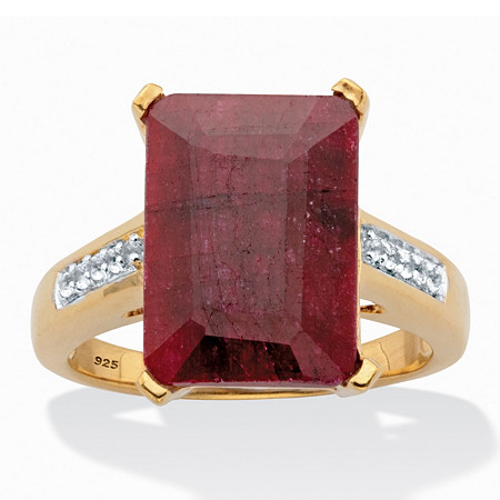 Emerald-Cut Genuine Ruby and White Topaz Two-Tone Cocktail Ring 9.29 TCW 14k Gold over Silver at PalmBeach Jewelry