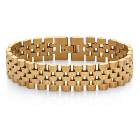 """Men's Gold-Ion Plated Stainless Steel Panther- Link Bracelet 8"""" Length at PalmBeach Jewelry"""
