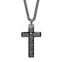 Men's Black-Ion Plated Stainless Steel Lord's Prayer Cross Pendant 24 Length