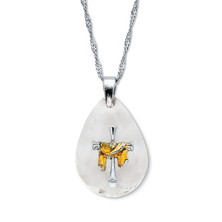 """Crystal Briole Faceted Style Drop Cross Pendant Necklace 19"""" Chain Silvertone at PalmBeach Jewelry"""