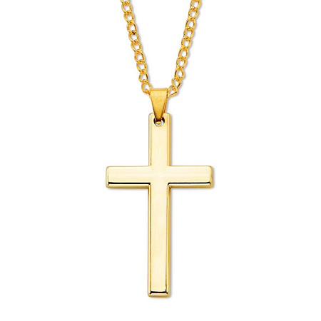 """Men's Cross Pendant in Gold-Ion Plated Stainless Steel with Chain 24"""" at Direct Charge presents PalmBeach"""
