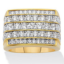 Men's Round Multi Row, Step Top Cubic Zirconia Ring 3 TCW in 14k Gold Plated