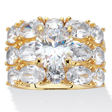 Oval-Cut Cubic Zirconia 3 Piece Bridal Ring Set 7.54 TCW Yellow Gold-Plated Sterling Silver at PalmBeach Jewelry