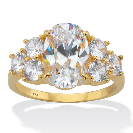 Oval-Cut Cubic Zirconia Engagement Ring 4.49 TCW 14K Gold Plated Sterling Silver at PalmBeach Jewelry