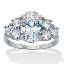 Oval-Cut Cubic Zirconia Engagement Ring 4.49 TCW Platinum Plated Sterling Silver