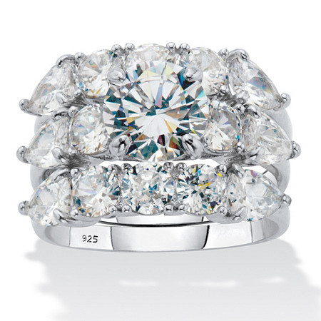 Round Cubic Zirconia 3 Piece Bridal Ring Set 6.34 TCW in Platinum Plated Sterling Silver at PalmBeach Jewelry