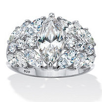 Marquise Cut Cubic Zirconia Engagement Ring 4.44 TCW Platinum Plated Sterling Silver
