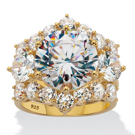 Round Cubic Zirconia 3 Piece Bridal Ring Set 10.06 TCW in 18k Gold-Plated Sterling Silver. at PalmBeach Jewelry