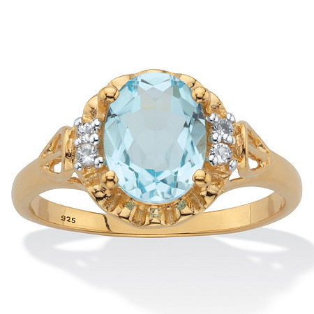 Oval-Cut Genuine Blue and White Topaz Ring Two-Tone 2.62 TCW 14k Gold over Sterling Silver at PalmBeach Jewelry