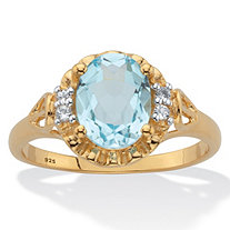 Oval-Cut Genuine Blue and White Topaz Ring Two-Tone 2.62 TCW 14k Gold over Sterling Silver