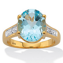 Oval-Cut Classic Blue Topaz and Diamond Accent Two-Tone Ring 6.01 TCW 14k Gold over Sterling Silver