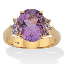 Classic Oval-Cut Genuine Amethyst and Purple Tanzanite Two-Tone Ring 4.74 TCW Gold-Plated Sterling Silver