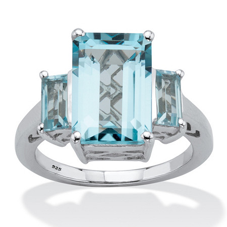 Emerald-Cut Genuine Blue Topaz 3 Stone Cocktail Ring 5.30 TCW Sterling Silver at PalmBeach Jewelry
