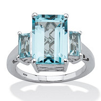 Emerald-Cut Genuine Blue Topaz 3 Stone Cocktail Ring 5.30 TCW Sterling Silver