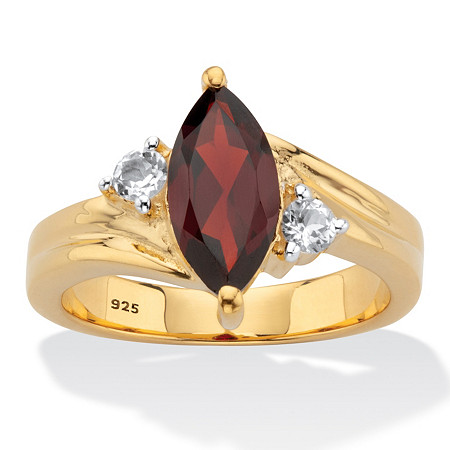 Classic Marquise-Cut Genuine Garnet and White Topaz Two-Tone Ring 2.22 TCW Gold-Plated Sterling Silver at PalmBeach Jewelry