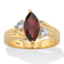 Classic Marquise-Cut Genuine Garnet and White Topaz Two-Tone Ring 2.22 TCW 14k Gold over Silver