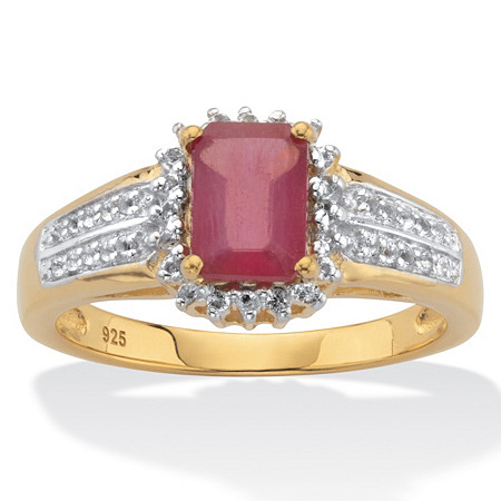 Emerald-Cut Ruby and White Topaz Two-Tone Double-Row Halo Cocktail Ring 3.15 TCW 14k Gold over Silver at PalmBeach Jewelry