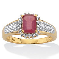 Emerald-Cut Ruby and White Topaz Two-Tone Double-Row Halo Cocktail Ring 3.15 TCW 14k Gold over Silver