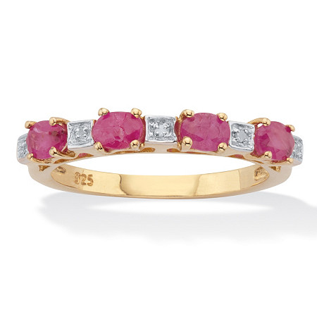 Oval-Cut Genuine Ruby and Diamond Accent Two-Tone Ring .83 TCW 14k Gold over Silver at PalmBeach Jewelry