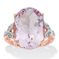 Oval-Cut Genuine Pink Amethyst and White Topaz Two-Tone Cocktail Ring 10.93 TCW 14k Rose Gold over Silver