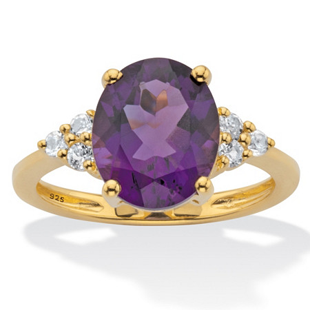 Oval-Cut Purple Amethyst and White Topaz Two Tone Ring 3.44 TCW in 14k Gold Over Silver at PalmBeach Jewelry