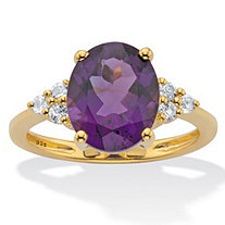Oval-Cut Purple Amethyst and White Topaz Two Tone Ring 3.44 TCW 14k Gold-Plated Sterling Silver