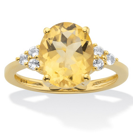 Genuine Yellow Oval Cut Citrine and White Topaz Ring 3.49 T.W. 14k Gold Over Silver at PalmBeach Jewelry