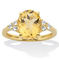 Genuine Yellow Oval Cut Citrine and White Topaz Ring 3.49 T.W. 14k Gold Over Silver