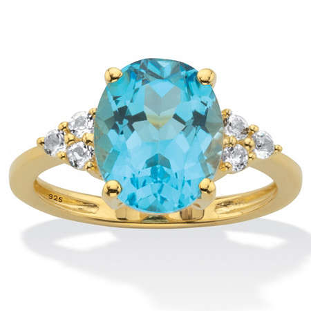 Genuine Oval Cut Blue and White Topaz Ring 4.74 TCW 14k Gold-Plated Sterling Silver at PalmBeach Jewelry