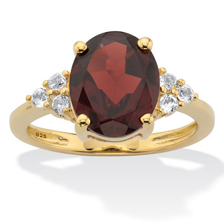Oval Cut Red Garnet Ring with White Topaz Accents 3.99 TCW 14k Gold-Plated Sterling Silver at PalmBeach Jewelry