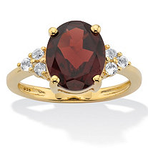 Oval Cut Red Garnet Ring with White Topaz Accents 3.99 TCW 14k Gold Over Silver