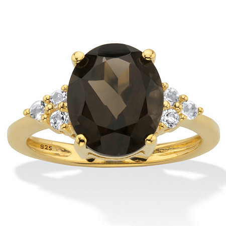Genuine Oval-Cut Smoky Topaz and White Topaz Accent Ring 4.74 TCW in 14k Gold Over Silver at PalmBeach Jewelry