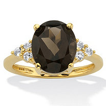 Genuine Oval-Cut Smoky Topaz and White Topaz Accent Ring 4.74 TCW in 14k Gold Over Silver