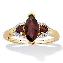 Marquise and Trillion Cut Red Garnet Ring. 1.68 TCW 14k Gold over Silver