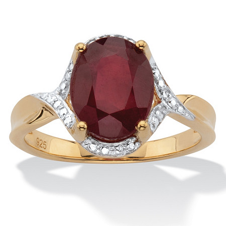 Oval-Cut Genuine Red Ruby Two Tone Halo Ring 3.15 T.W. 14k Gold over Silver at PalmBeach Jewelry