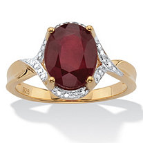 Oval-Cut Genuine Red Ruby Two Tone Halo Ring 3.15 T.W. 14k Gold over Silver