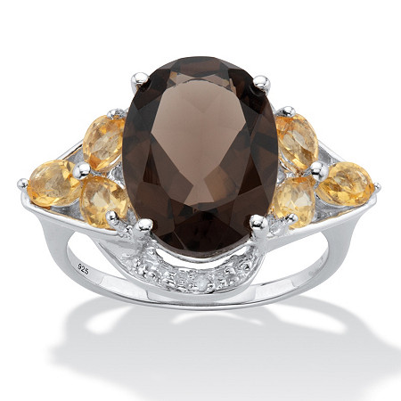 Oval Cut Smoky Topaz Cocktail Ring with Citrine and Diamond Accents 6.41 TCW Sterling Silver at PalmBeach Jewelry