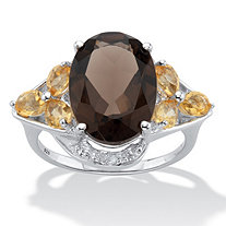 Oval Cut Smoky Topaz Cocktail Ring with Citrine and Diamond Accents 6.41 TCW Sterling Silver