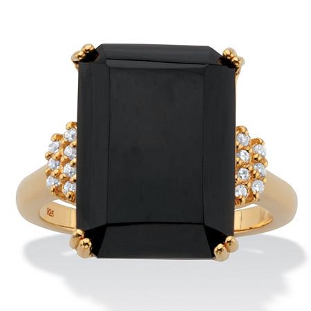 Emerald-Cut Black Onyx and White Topaz Cocktail Ring .42 TCW 18k Gold-Plated Sterling Silver at PalmBeach Jewelry