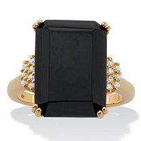 Emerald-Cut Black Onyx and White Topaz Cocktail Ring .42 TCW 18k Gold over Silver