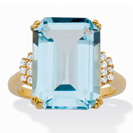 Genuine Emerald-Cut Blue and White Topaz Cocktail Ring 18.92 TCW 18k Gold-Plated Sterling Silver at PalmBeach Jewelry