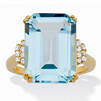 Genuine Emerald-Cut Blue and White Topaz Cocktail Ring 18.92 TCW 18k Gold over Silver