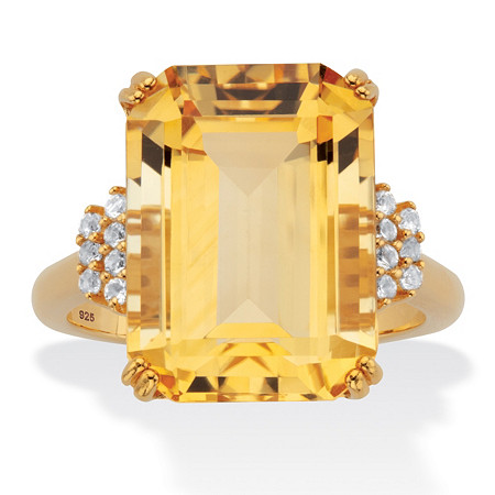Genuine Emerald-Cut Citrine and White Topaz Cocktail Ring 15.92 TCW 18k Gold-Plated Sterling Silver at PalmBeach Jewelry
