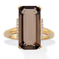 Emerald-Cut Smoky and White Quartz Cocktail Ring 11.64 TCW 18k Gold over Silver